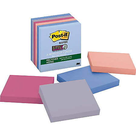 "Post it® Super Sticky Recycled Notes, 3"" x 3"", Bali, Pack Of 6 Pads"