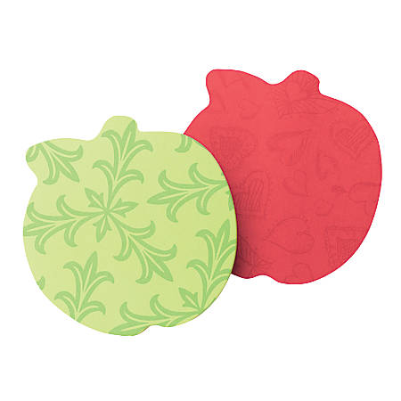 "Post-it® Notes Super Sticky Die-Cut Apple Notes, 3"" x 3"", Assorted Colors, Pack Of 2 Pads"