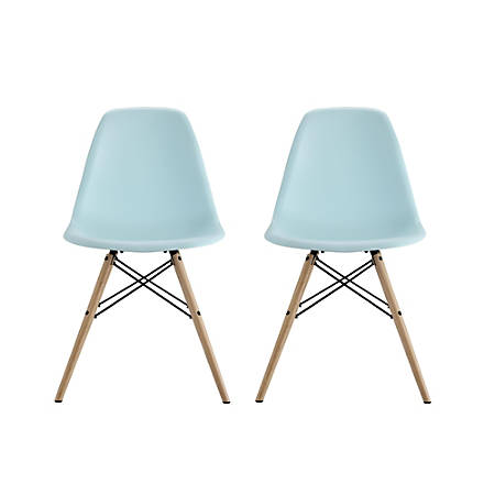 Astonishing Dhp Mid Century Modern Molded Chairs With Wood Legs Light Blue Birch Set Of 2 Item 697431 Pabps2019 Chair Design Images Pabps2019Com