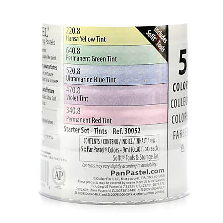 PanPastel Starter Set, Tints, Assorted Colors, Set Of 5