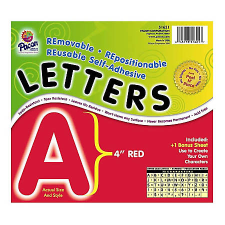 """Pacon® Self-Adhesive Letters, 4"""", Red, Pack Of 78"""