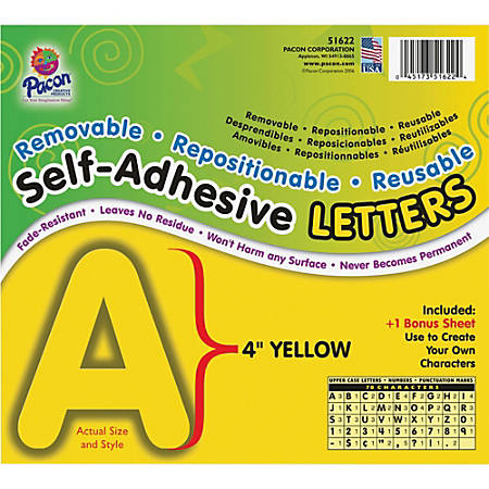 "Pacon Reusable Self-Adhesive Letters - (Uppercase Letters, Number, Punctuation Marks) Shape - Self-adhesive - Acid-free, Fadeless - 4"" Length - Puffy Font - Yellow - 1 / Pack"