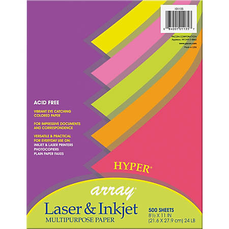 """Pacon® Bond Paper, Letter Size (8 1/2"""" x 11""""), 24 Lb, Assorted Hyper Colors, Ream Of 500 Sheets"""