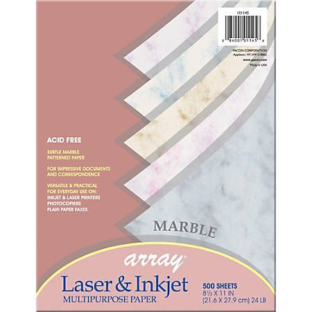 "Pacon® Bond Paper, Letter Size (8 1/2"" x 11""), 24 Lb, Assorted Marble Colors, Ream Of 500 Sheets"