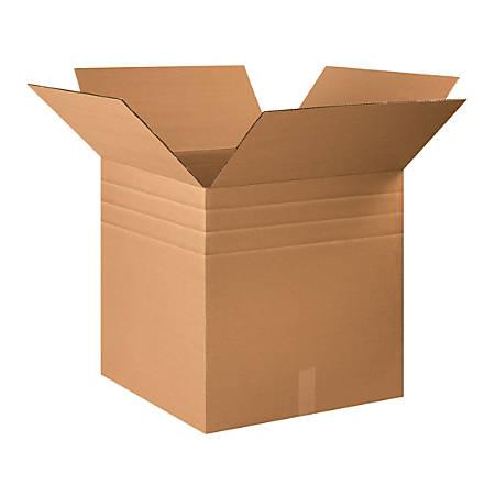 "Office Depot® Brand Multi-Depth Corrugated Cartons, 22"" x 22"" x 22"", Scored 20"", 18"", 16"", Kraft, Pack Of 10"