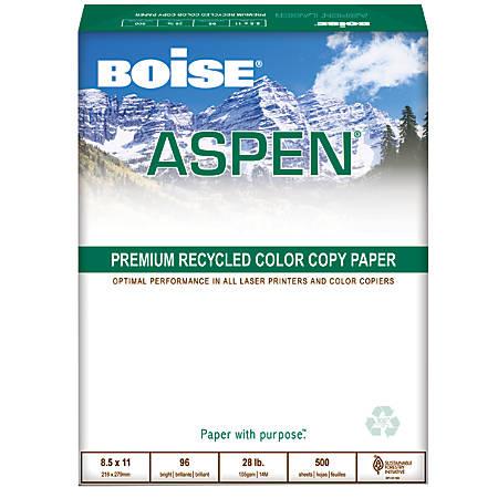 Boise® ASPEN® Multipurpose Paper, Letter Paper Size, 28 Lb, 100% Recycled, FSC® Certified, Ream Of 500 Sheets