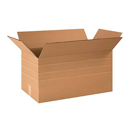 "Office Depot® Brand Multi-Depth Corrugated Cartons, 24"" x 12"" x 12"", Scored 10"", 8"", 6"", Kraft, Pack Of 25"