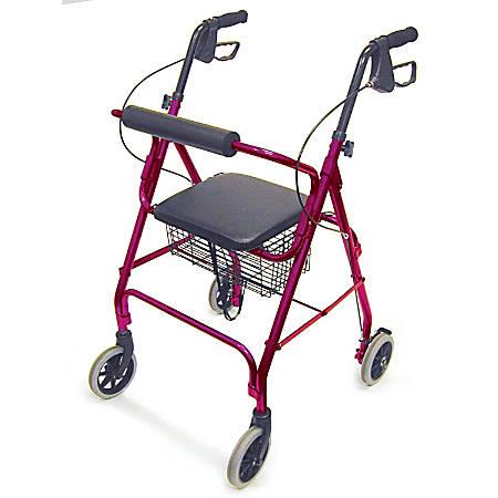 "DMI® Freedom Adjustable Aluminum Rollator Walker With Seat, 38"" x 25"", Burgundy"
