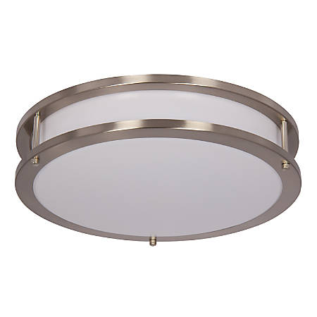 "Luminance LED Round Flush Ceiling Mount Fixture, 12"", 20 Watts, 3000K/Warm White, 1560 Lumen, Bright Satin Nickel/White Lens"