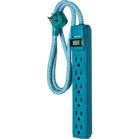 powergear surge 6 outlet surge protector 3 cord teal 38908 by office depot officemax. Black Bedroom Furniture Sets. Home Design Ideas