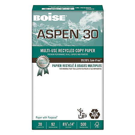 "Boise® ASPEN® 30 Multi-Use Paper, Legal Size (8 1/2"" x 14""), 92 (U.S.) Brightness, 20 Lb, 30% Recycled, FSC® Certified, Ream Of 500 Sheets"
