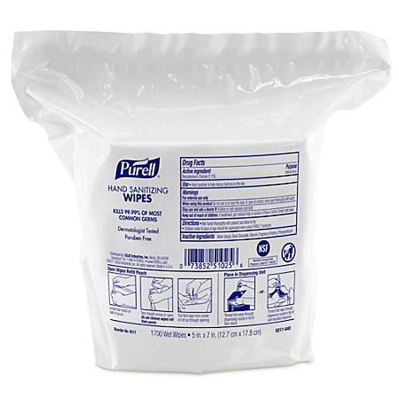 "Purell® Hand Sanitizing Wipes, Citrus Scent, 11-7/16"" x 8-1/4"", 1,700 Wipes Per Bag, Pack Of 2 Bags"
