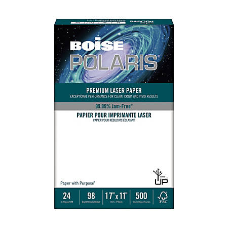 Boise POLARIS® Premium Laser Cover Paper, Ledger Paper Size, 24 Lb, FSC® Certified, Ream Of 500 Sheets