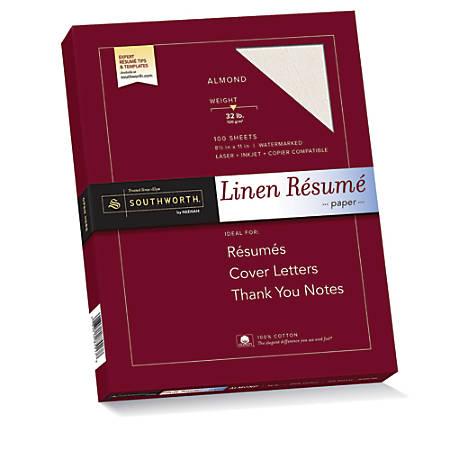 """Southworth® 100% Cotton Résumé Paper, 8 1/2"""" x 11"""", 32 Lb, 100% Recycled, Almond, Pack Of 100"""
