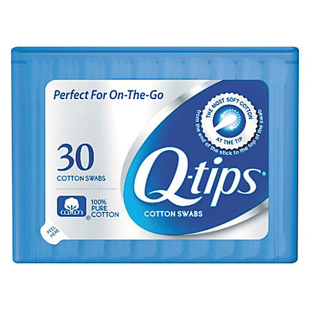 "Q-tips Cotton Swabs, 1"", White, 30 Swabs Per Pack, Container Of 36 Packs"