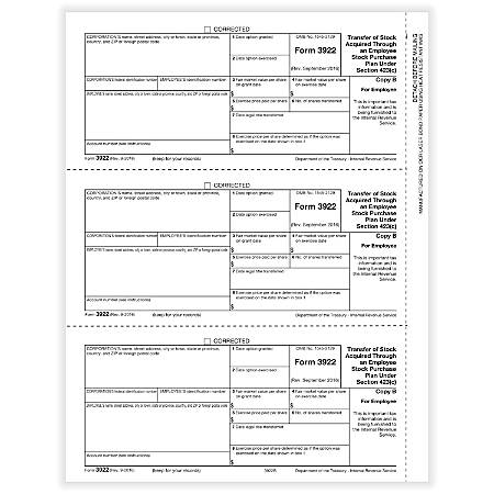"""ComplyRight™ 3922 Laser Tax Forms, Employee Copy B, 8-1/2"""" x 11"""", Pack Of 50 Forms"""