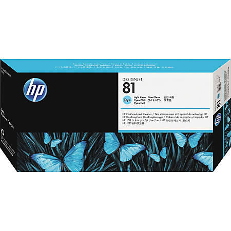HP 81 (C4954A) Light Cyan Printhead Inkjet Cartridge with print head cleaner