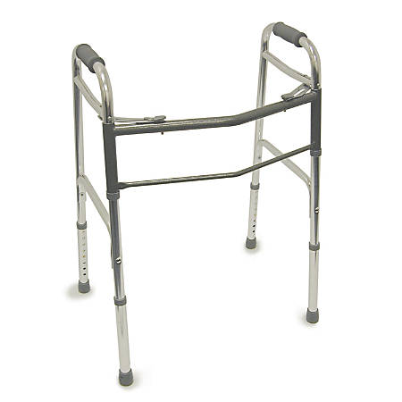 "DMI® Adjustable Aluminum Folding Walkers, 31"" - 38"" x 23"", Silver, Pack Of 2"