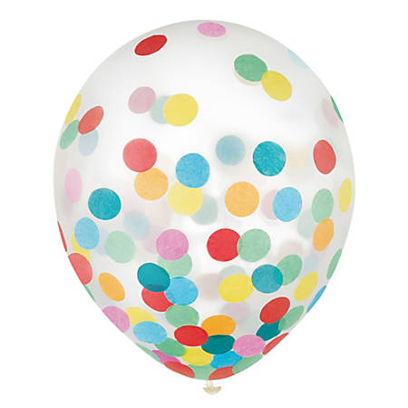 """Amscan 12"""" Confetti Balloons, Multicolor, 6 Balloons Per Pack, Set Of 4 Packs"""