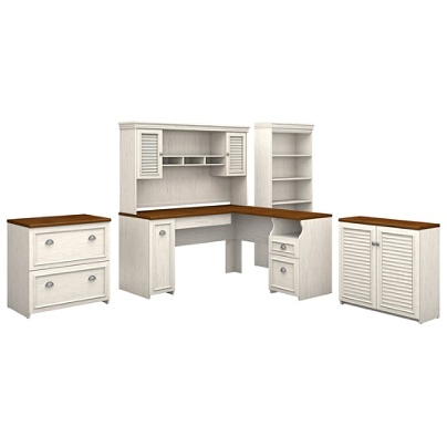 Bush Furniture Fairview 60 W L Shaped Desk With Hutch Storage Cabinets And 5 Shelf Bookcase Antique White Tea Maple Standard Delivery Item