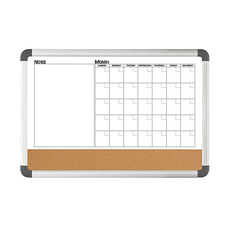 "FORAY™ 3-In-1 Monthly Planner/Cork/Magnetic Dry-Erase Board, 18"" x 24"", Aluminum Frame"