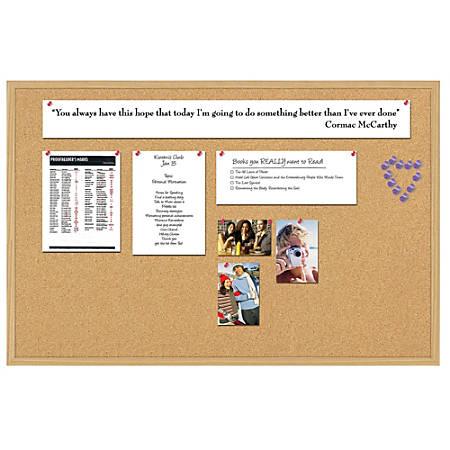 """FORAY™ Cork Board, 36"""" x 48"""", Tan Cork, Light Oak Frame"""