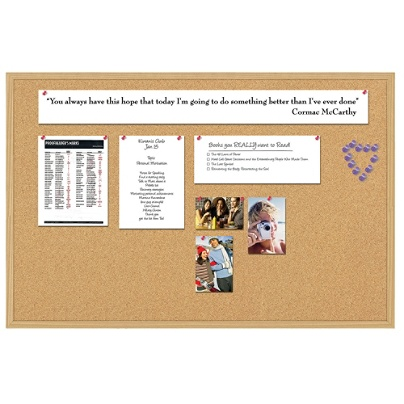 Foray Cork Board 36 X 48 Tan Cork Light Oak Frame Office Depot