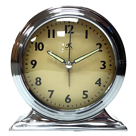 "Infinity Instruments Boutique Tabletop Alarm Clock, 6""H x 6""W x 2 1/2""D, Silver"