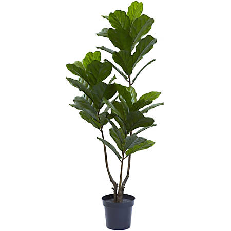 "Nearly Natural 65""H UV-Resistant Fiddle Leaf Tree With Plastic Pot, Green"