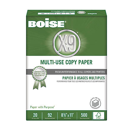Boise® X-9® Multi-Use Copy Paper, Letter Paper Size, 92 Brightness, 20 Lb, FSC® Certified, 500 Sheets Per Ream, Ream Of 500 Sheets