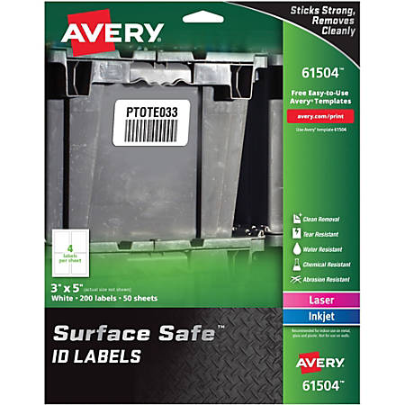 """Avery® Surface Safe ID Labels - Removable Adhesive - 3"""" Width x 5"""" Length - Rectangle - Laser, Inkjet - White - Polyester - 4 / Sheet - 50 Total Sheets - 200 / Pack"""