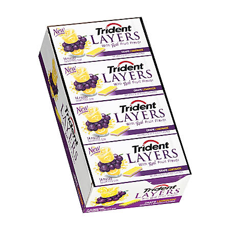 Trident® Layers Grape And Lemonade Gum, 14 Pieces Per Pack, Box Of 12 Packs