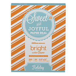 office depot brand colored bright copy paper letter size 24 lb