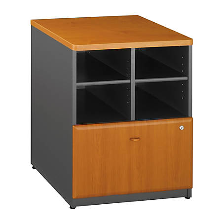 "Bush® Office Advantage 24"" Storage Cabinet, 29 7/8""H x 23 5/8""W x 23 3/8""D, Natural Cherry/Slate, Standard Delivery Service"