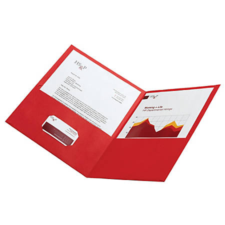Office Depot® Brand Leatherette Twin-Pocket Portfolios, Red, Pack Of 25