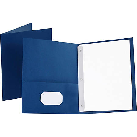 "Oxford™ Twin-Pocket Portfolio With Fasteners, 8 1/2"" x 11"", Blue, Pack Of 25"