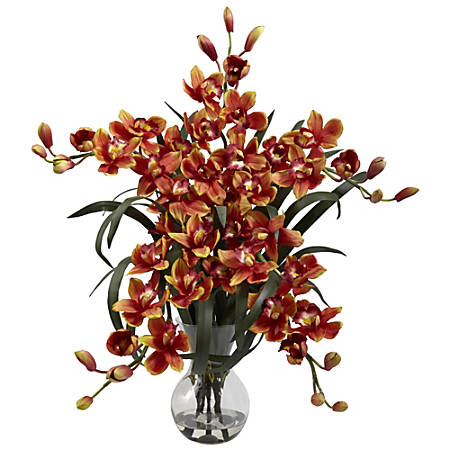 "Nearly Natural 34""H Cymbidium Arrangement With Glass Vase, Burgundy"