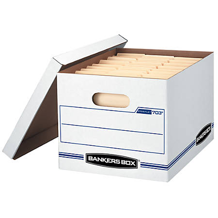 "Bankers Box® Stor/File™ Basic Strength Storage Boxes, 15"" x 12"" x 10"", Letter/Legal, 60% Recycled, White/Blue"
