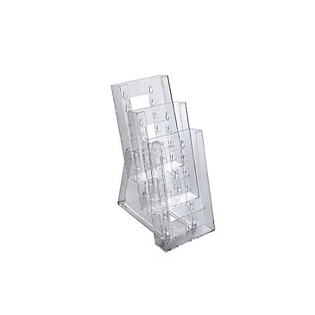 """Azar Displays Tiered Modular 3-Pocket Crystal Styrene Brochure Holders, 11 3/4""""H x 4 1/2""""W x 7""""D, Clear, Pack Of 2"""