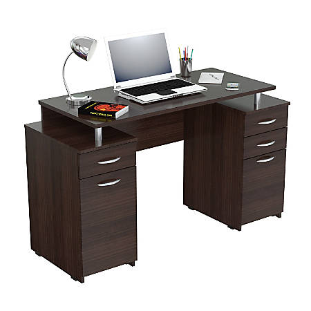 Inval Computer Desk With 4 Drawers, Espresso-Wengue