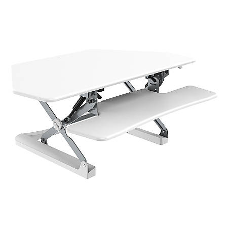 "FlexiSpot Classic Series M4 Corner Sit-Stand Desk Converter, 19-3/4""H x 41""W x 23-1/8""D, White"