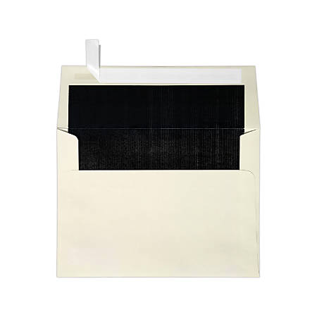 """LUX Invitation Envelopes With Peel & Press Closure, A7, 5 1/4"""" x 7 1/4"""", Black/Natural, Pack Of 50"""