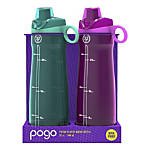Pogo Tritan Chug Water Bottles, 32 Oz, Fuschia/Teal, Pack Of 2 Bottles