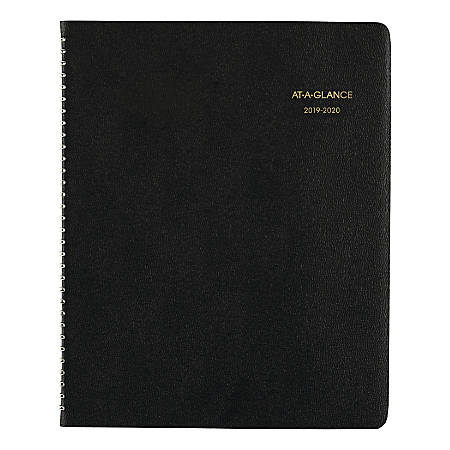 """AT-A-GLANCE® 18-Month Academic Monthly Planner, 8 7/8"""" x 11"""", Black, July 2019 to August 2020"""