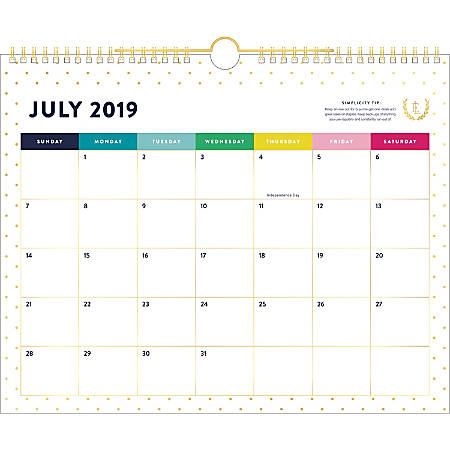 """Simplified by Emily Ley for AT-A-GLANCE® Academic Monthly Wall Calendar, 14-7/8"""" x 11-7/8"""", Gold Dot, July 2019 to June 2020"""