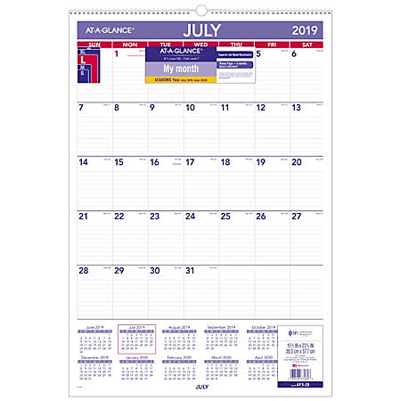 At A Glance Calendar.At A Glance Monthly Academic Wall Calendar 15 1 2 X 22 3 4 July 2019 To June 2020 Item 6994757