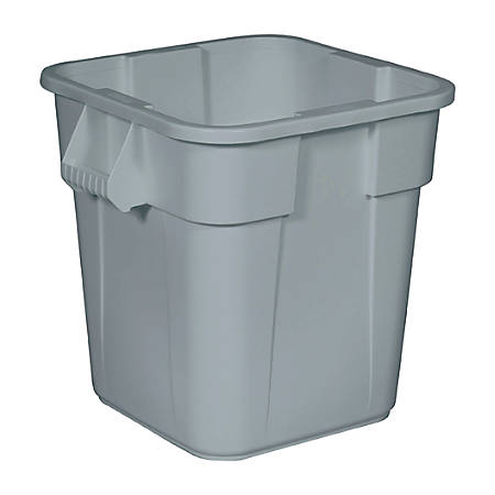 Rubbermaid Brute Container, Square, Polyethylene, 28 gallon, Gray, one waste receptacle