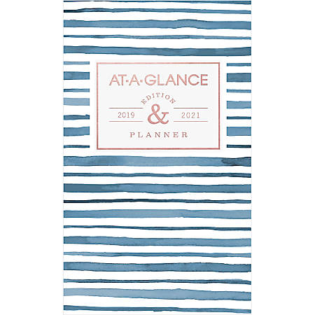 "AT-A-GLANCE® Badge Collection 24-Month Monthly Academic Planner, 3 3/4"" x 6 1/4"", Stripes, July 2019 to August 2021"