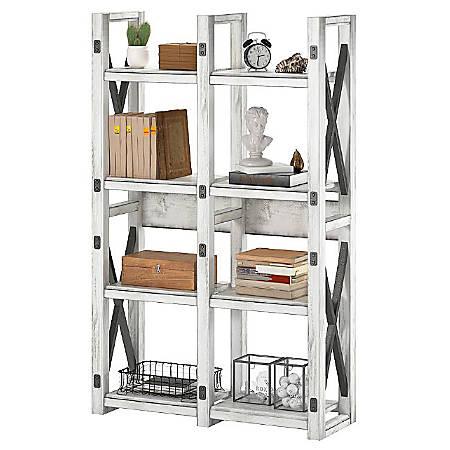 Ameriwood™ Home Wildwood 8-Shelf Bookcase/Room Divider, Distressed Whitewash