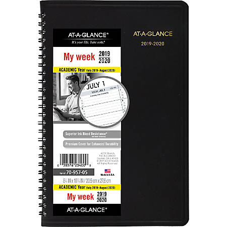 """AT-A-GLANCE® 14-Month Academic Weekly Planner, 8 1/4"""" x 10 7/8"""", Black, July 2019 to August 2020"""